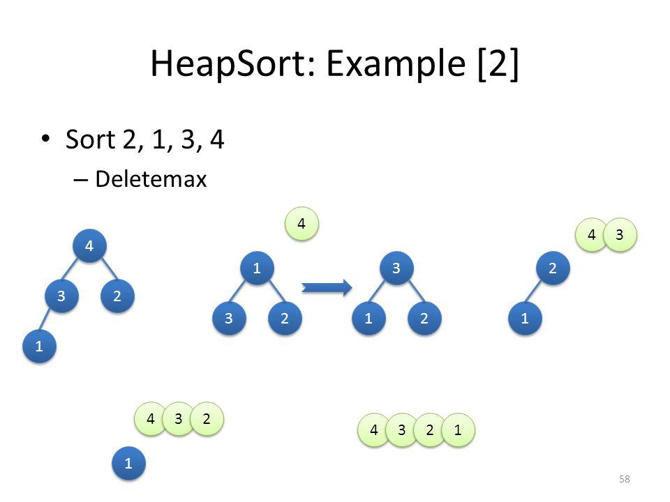 HeapSort: Example [2] Sort 2, 1, 3, 4 Deletemax 4 4 3 4 1 3 2 3 2 3 2